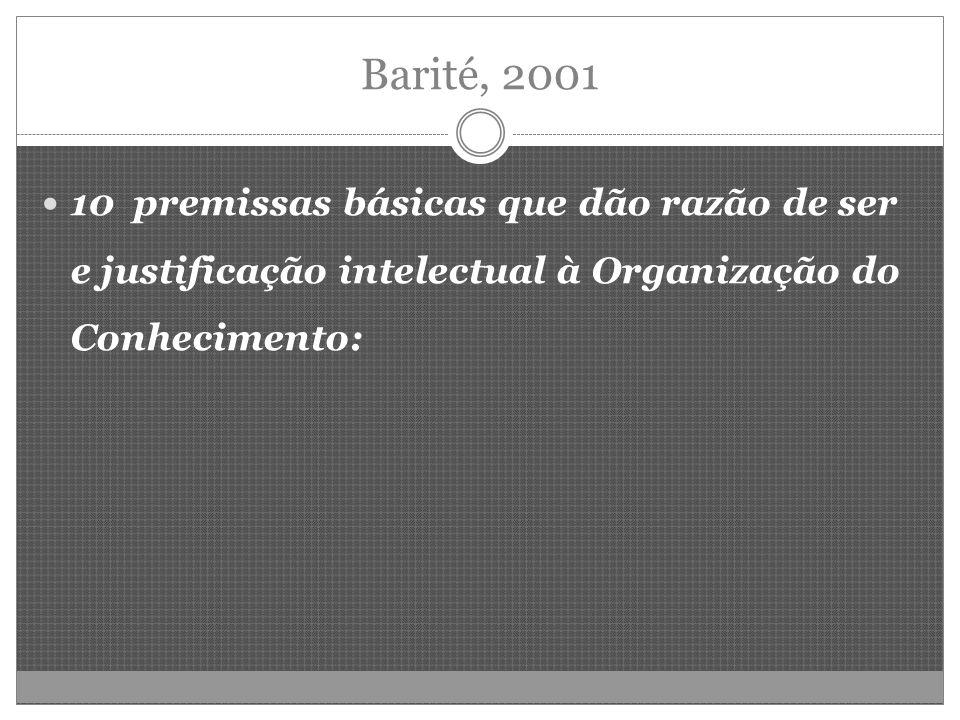 Barité, 2001 10 premissas básicas que dão razão de ser e justificação intelectual à Organização do Conhecimento: