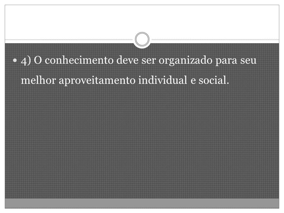 4) O conhecimento deve ser organizado para seu melhor aproveitamento individual e social.