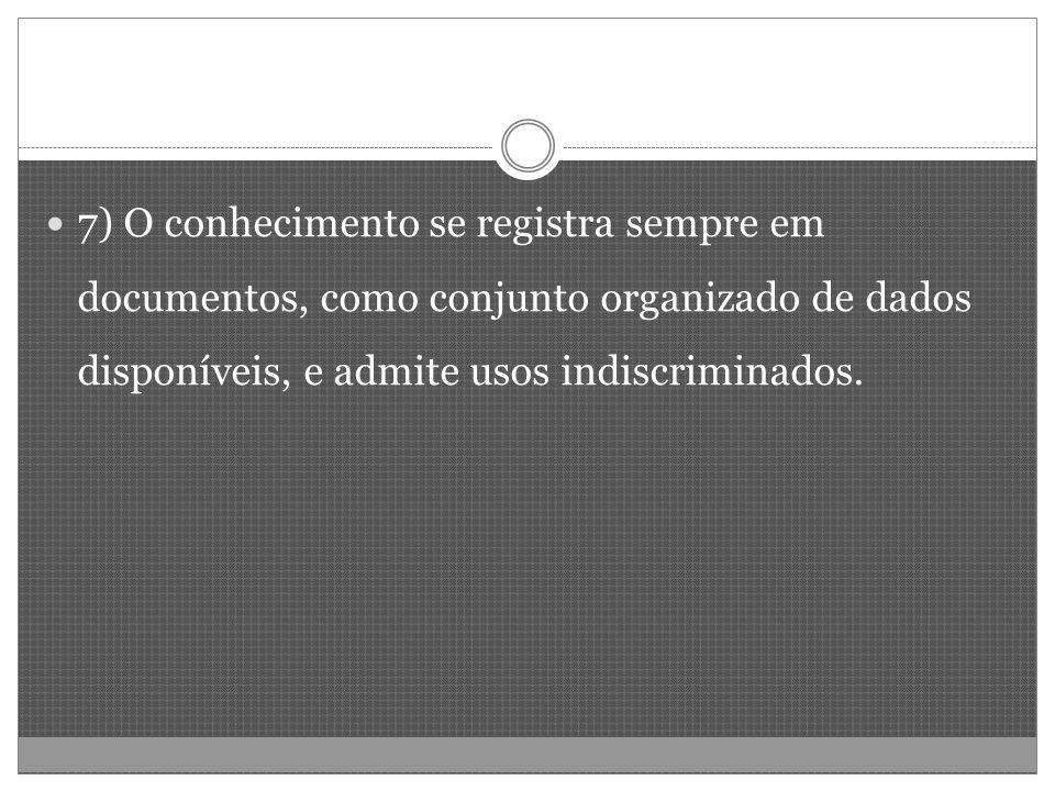 7) O conhecimento se registra sempre em documentos, como conjunto organizado de dados disponíveis, e admite usos indiscriminados.