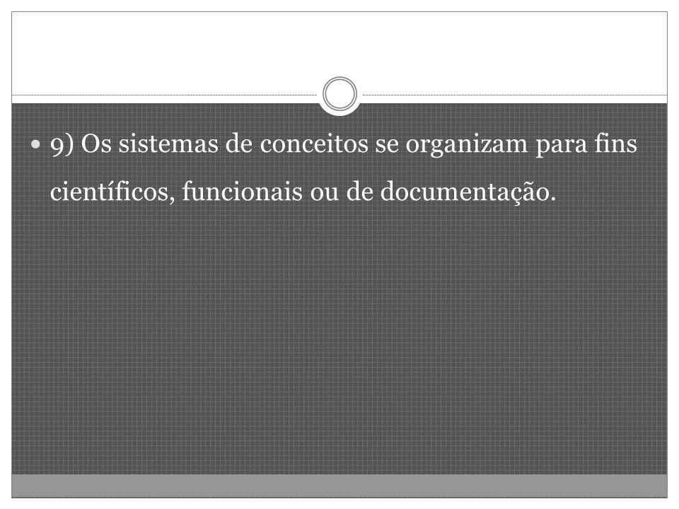 9) Os sistemas de conceitos se organizam para fins científicos, funcionais ou de documentação.