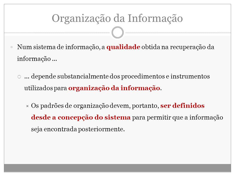 Organização da Informação Num sistema de informação, a qualidade obtida na recuperação da informação...... depende substancialmente dos procedimentos
