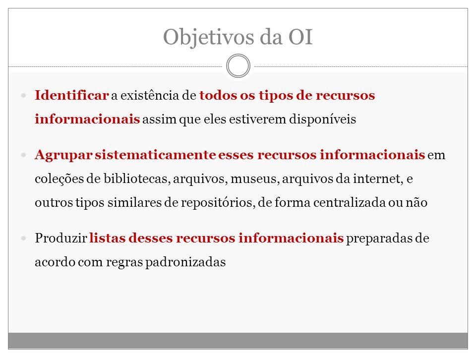 Objetivos da OI Identificar a existência de todos os tipos de recursos informacionais assim que eles estiverem disponíveis Agrupar sistematicamente es