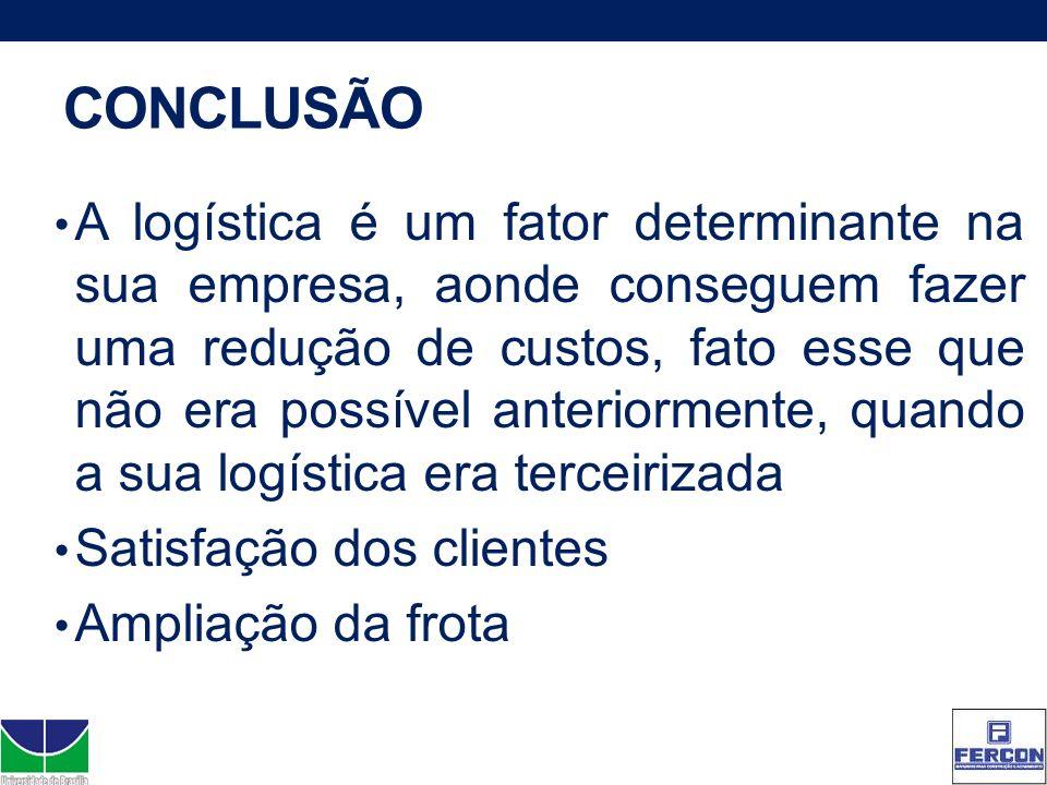 CONCLUSÃO A logística é um fator determinante na sua empresa, aonde conseguem fazer uma redução de custos, fato esse que não era possível anteriorment