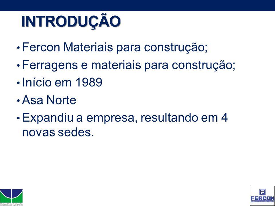INTRODUÇÃO Fercon Materiais para construção; Ferragens e materiais para construção; Início em 1989 Asa Norte Expandiu a empresa, resultando em 4 novas