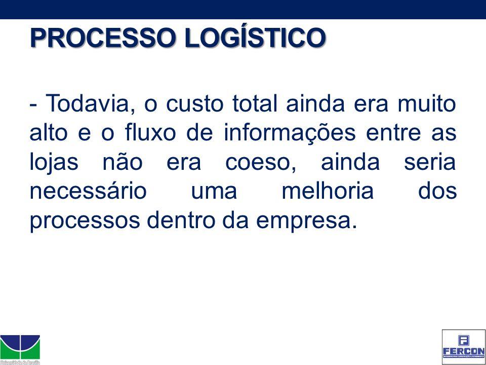 PROCESSO LOGÍSTICO - Todavia, o custo total ainda era muito alto e o fluxo de informações entre as lojas não era coeso, ainda seria necessário uma mel