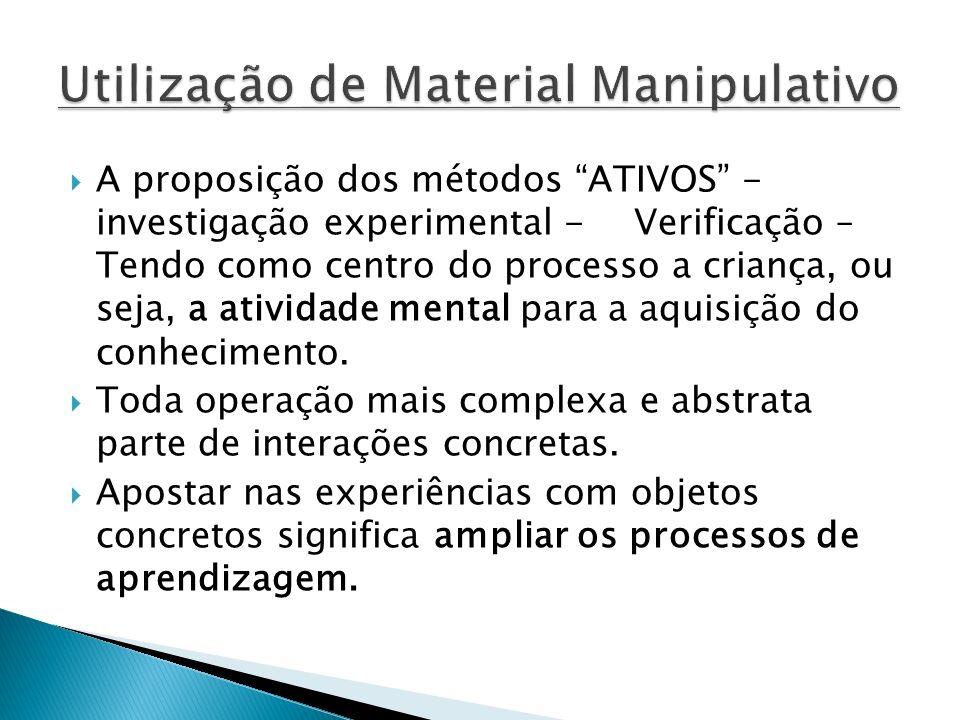 A proposição dos métodos ATIVOS - investigação experimental - Verificação – Tendo como centro do processo a criança, ou seja, a atividade mental para