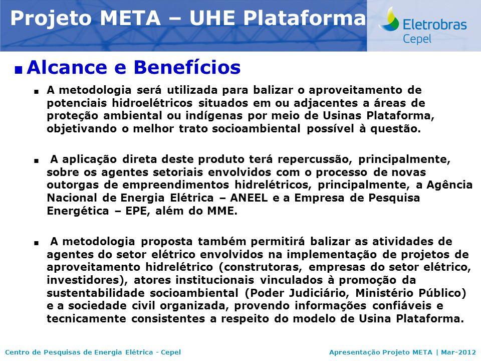 Centro de Pesquisas de Energia Elétrica - CepelApresentação Projeto META | Mar-2012 Modelo NEWAVE Alcance e Benefícios A metodologia será utilizada pa