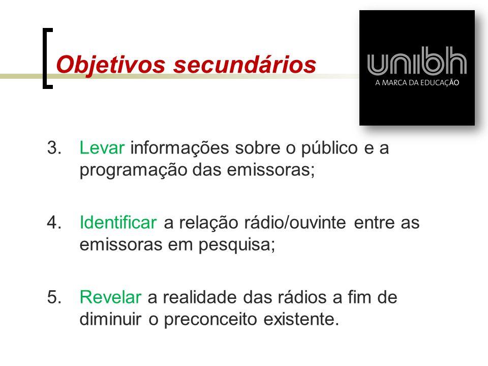 Objetivos secundários 3.Levar informações sobre o público e a programação das emissoras; 4.Identificar a relação rádio/ouvinte entre as emissoras em p