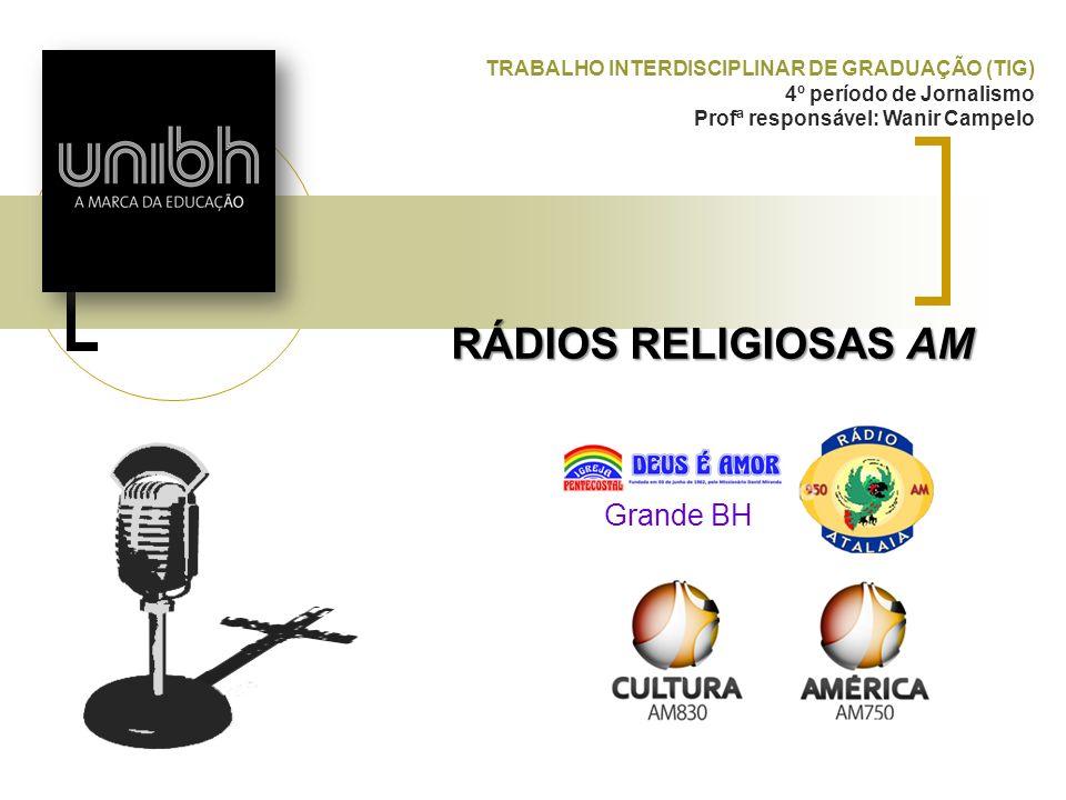 RÁDIOS RELIGIOSAS AM TRABALHO INTERDISCIPLINAR DE GRADUAÇÃO (TIG) 4º período de Jornalismo Profª responsável: Wanir Campelo Grande BH