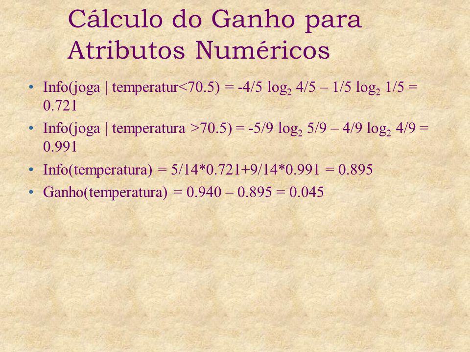 Info(joga | temperatur<70.5) = -4/5 log 2 4/5 – 1/5 log 2 1/5 = 0.721 Info(joga | temperatura >70.5) = -5/9 log 2 5/9 – 4/9 log 2 4/9 = 0.991 Info(tem