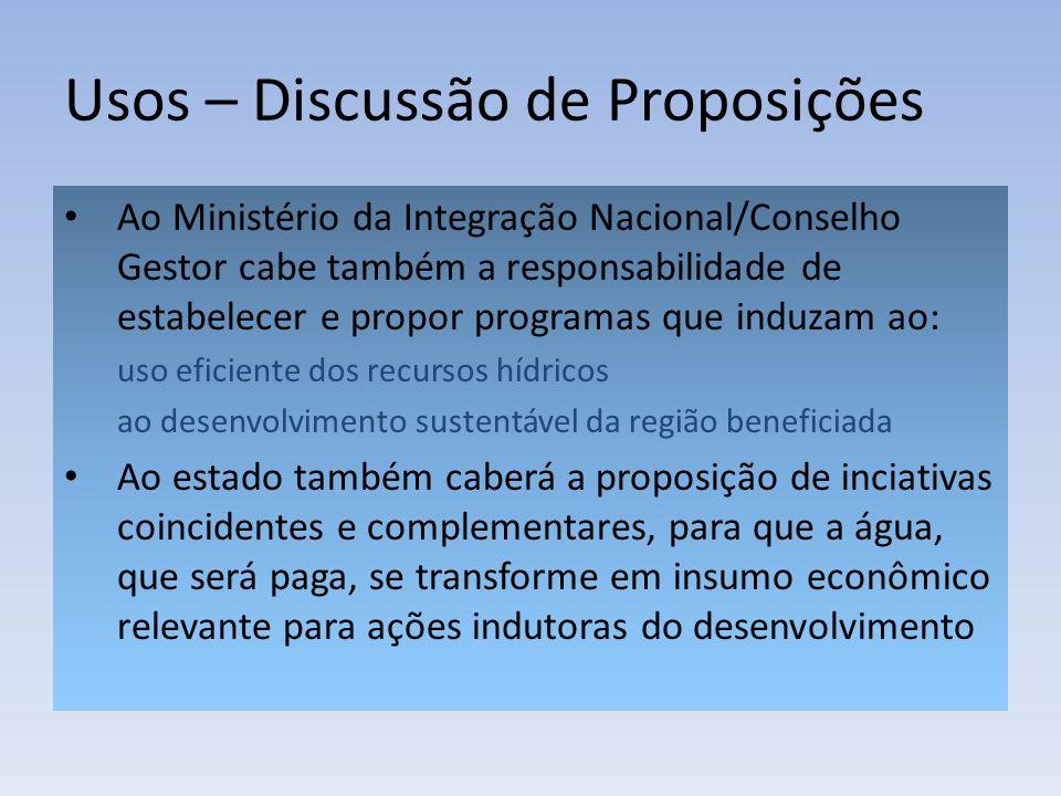 Usos – Discussão de Proposições Ao Ministério da Integração Nacional/Conselho Gestor cabe também a responsabilidade de estabelecer e propor programas