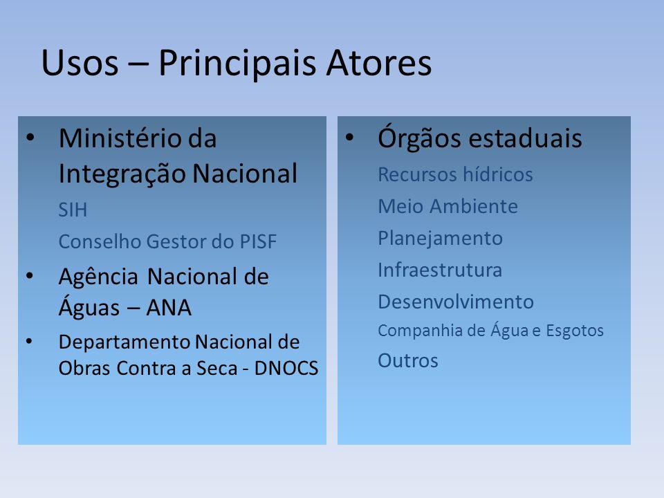 Usos – Principais Atores Ministério da Integração Nacional SIH Conselho Gestor do PISF Agência Nacional de Águas – ANA Departamento Nacional de Obras