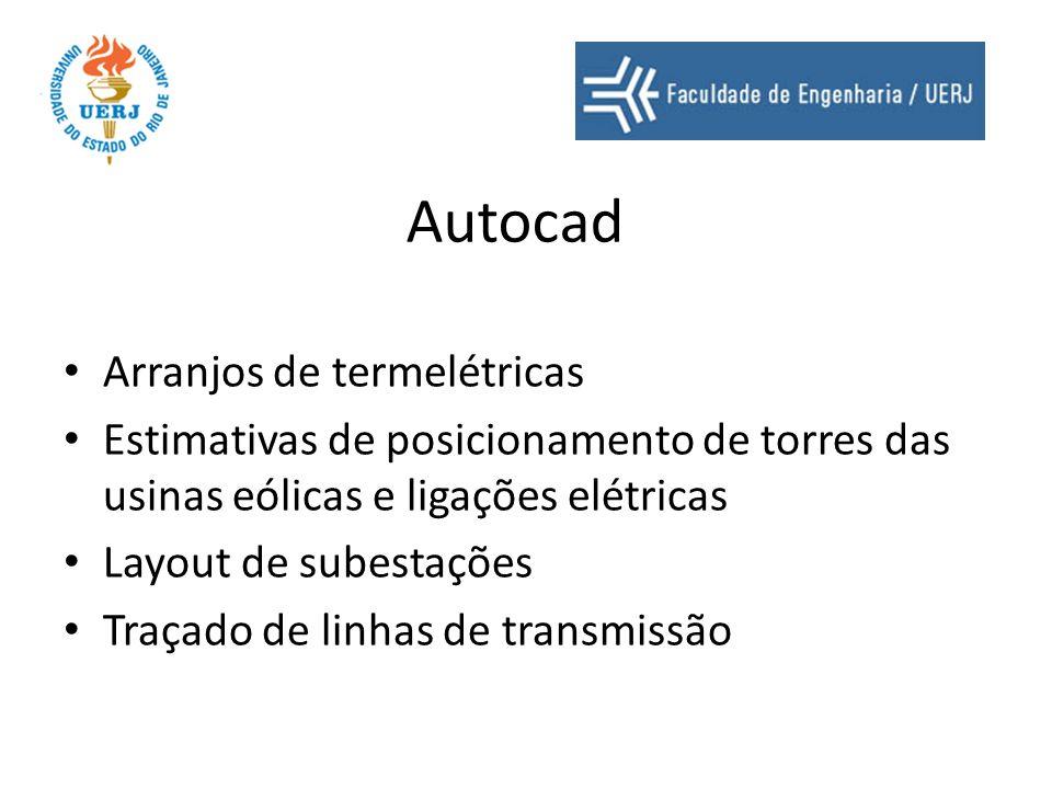 Autocad Arranjos de termelétricas Estimativas de posicionamento de torres das usinas eólicas e ligações elétricas Layout de subestações Traçado de lin