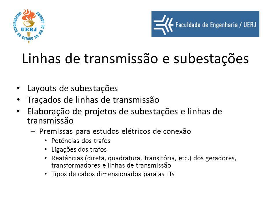 Linhas de transmissão e subestações Layouts de subestações Traçados de linhas de transmissão Elaboração de projetos de subestações e linhas de transmi