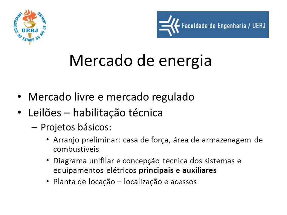Mercado de energia Mercado livre e mercado regulado Leilões – habilitação técnica – Projetos básicos: Arranjo preliminar: casa de força, área de armaz