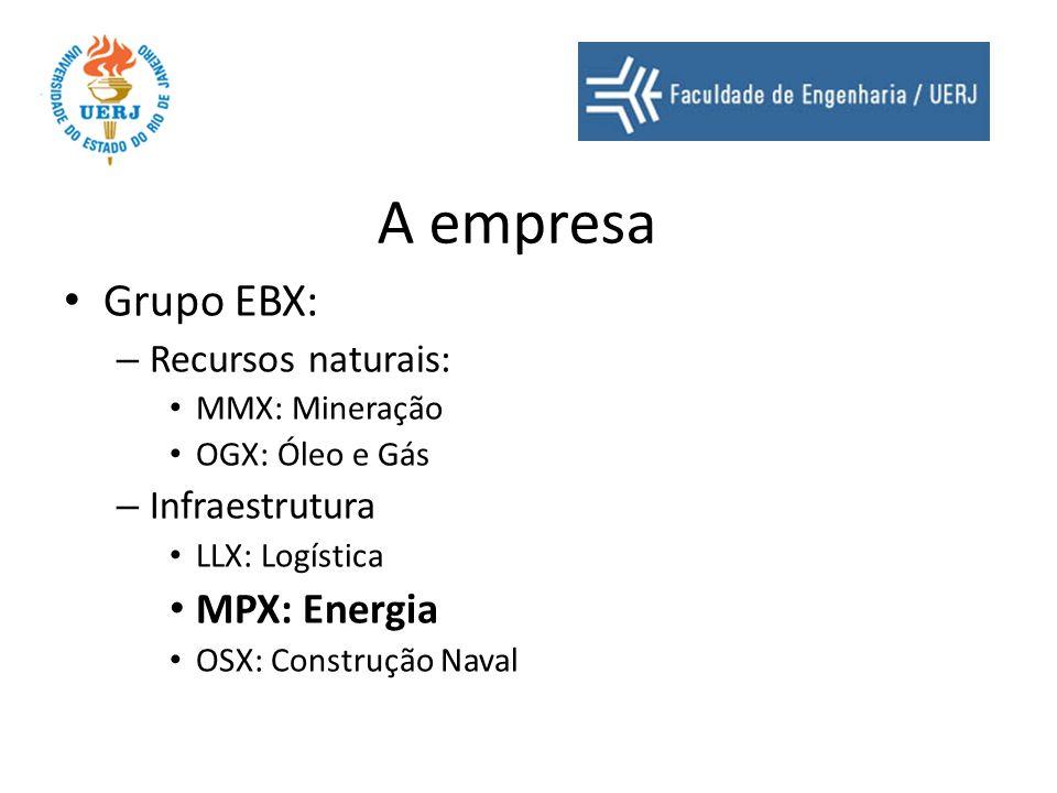 A empresa Grupo EBX: – Recursos naturais: MMX: Mineração OGX: Óleo e Gás – Infraestrutura LLX: Logística MPX: Energia OSX: Construção Naval
