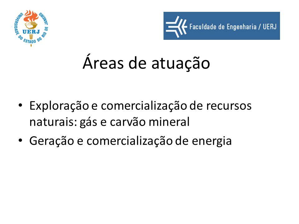 Áreas de atuação Exploração e comercialização de recursos naturais: gás e carvão mineral Geração e comercialização de energia