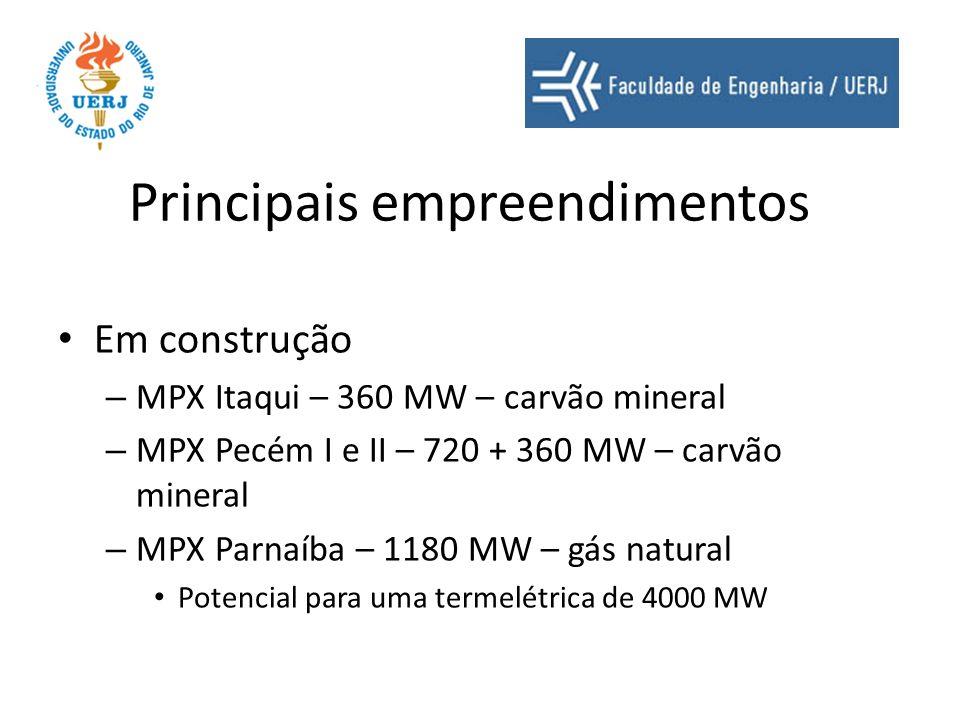 Principais empreendimentos Em construção – MPX Itaqui – 360 MW – carvão mineral – MPX Pecém I e II – 720 + 360 MW – carvão mineral – MPX Parnaíba – 11