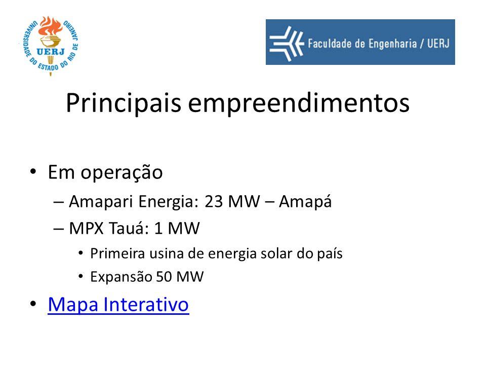 Principais empreendimentos Projetos – MPX Açu I e II – 2100 + 3300 MW Gás natural e carvão mineral Norte fluminense – Superporto do Açu – MPX Sul – 727 MW – carvão – MPX Seival – 600 MW - carvão