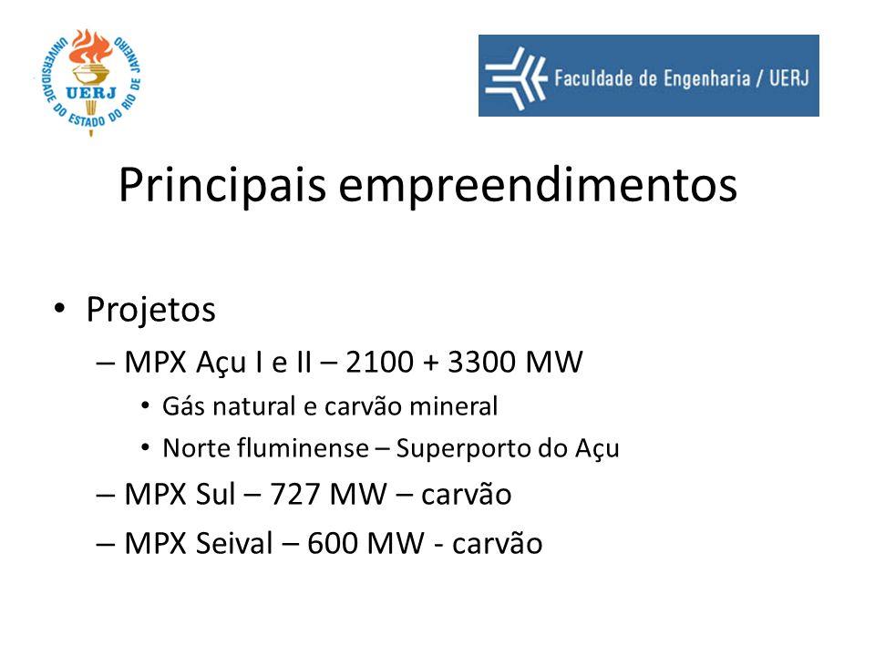 Principais empreendimentos Projetos – MPX Açu I e II – 2100 + 3300 MW Gás natural e carvão mineral Norte fluminense – Superporto do Açu – MPX Sul – 72