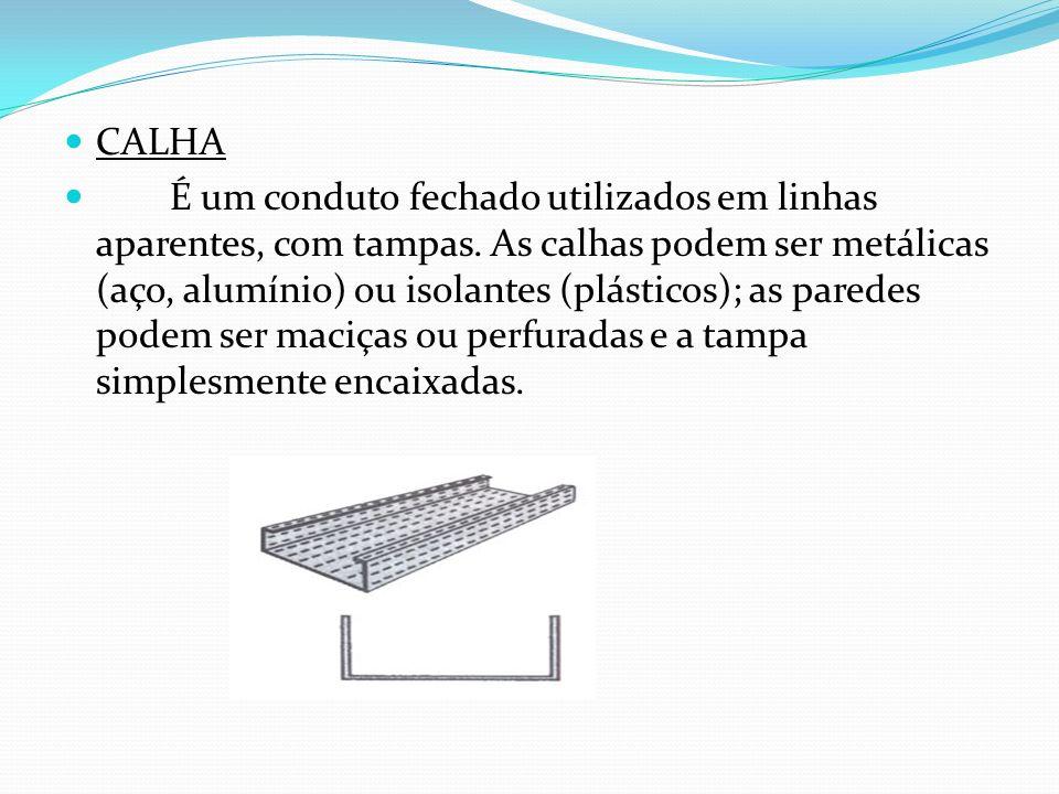 CALHA É um conduto fechado utilizados em linhas aparentes, com tampas. As calhas podem ser metálicas (aço, alumínio) ou isolantes (plásticos); as pare