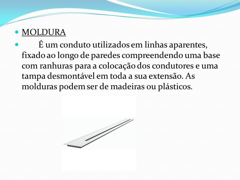 MOLDURA É um conduto utilizados em linhas aparentes, fixado ao longo de paredes compreendendo uma base com ranhuras para a colocação dos condutores e