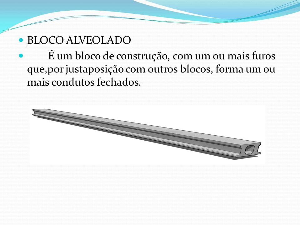 BLOCO ALVEOLADO É um bloco de construção, com um ou mais furos que,por justaposição com outros blocos, forma um ou mais condutos fechados.