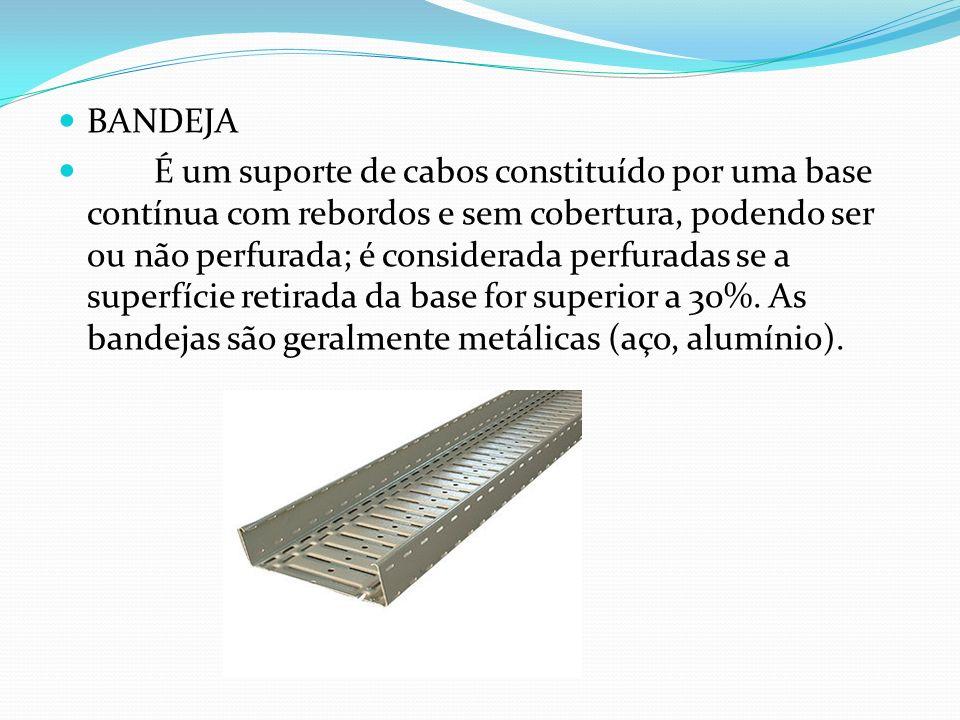 BANDEJA É um suporte de cabos constituído por uma base contínua com rebordos e sem cobertura, podendo ser ou não perfurada; é considerada perfuradas s