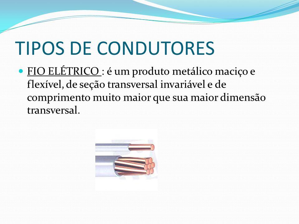 TIPOS DE CONDUTORES FIO ELÉTRICO : é um produto metálico maciço e flexível, de seção transversal invariável e de comprimento muito maior que sua maior