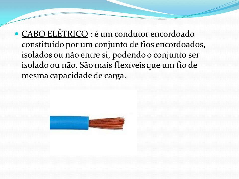 CABO ELÉTRICO : é um condutor encordoado constituído por um conjunto de fios encordoados, isolados ou não entre si, podendo o conjunto ser isolado ou