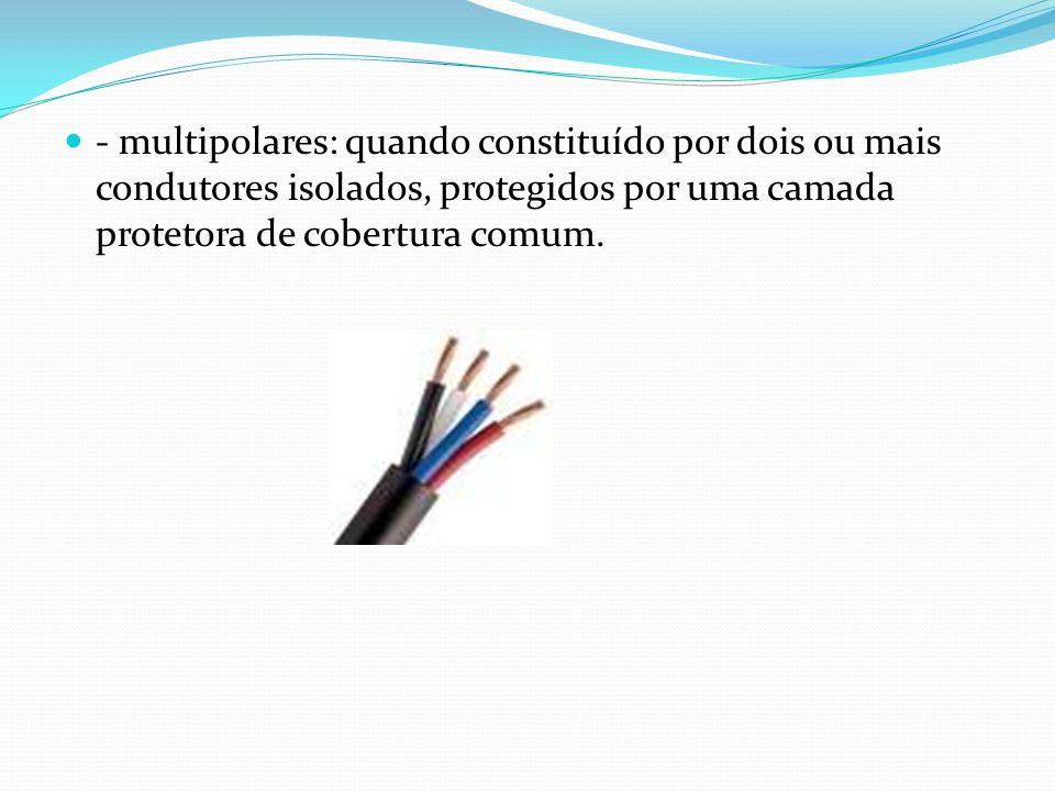 - multipolares: quando constituído por dois ou mais condutores isolados, protegidos por uma camada protetora de cobertura comum.