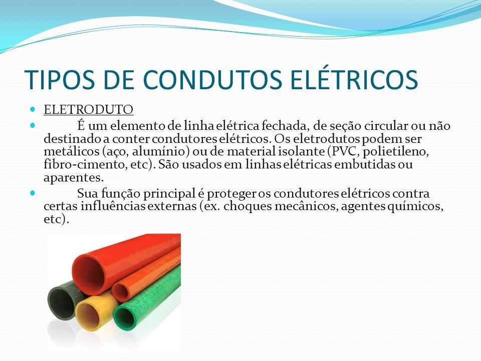 TIPOS DE CONDUTOS ELÉTRICOS ELETRODUTO É um elemento de linha elétrica fechada, de seção circular ou não destinado a conter condutores elétricos. Os e