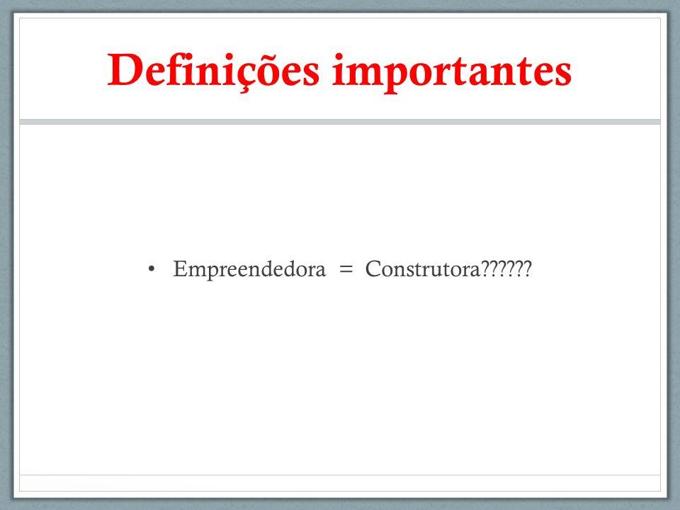 Definições importantes Empreendedora = Construtora??????