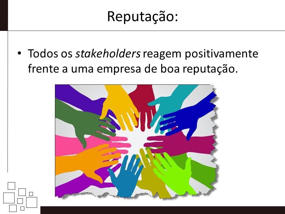 Reputação: Todos os stakeholders reagem positivamente frente a uma empresa de boa reputação.