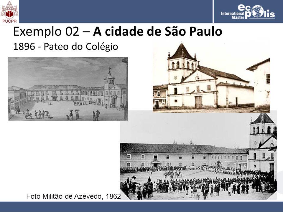 Exemplo 02 – A cidade de São Paulo 1896 - Pateo do Colégio Foto Militão de Azevedo, 1862