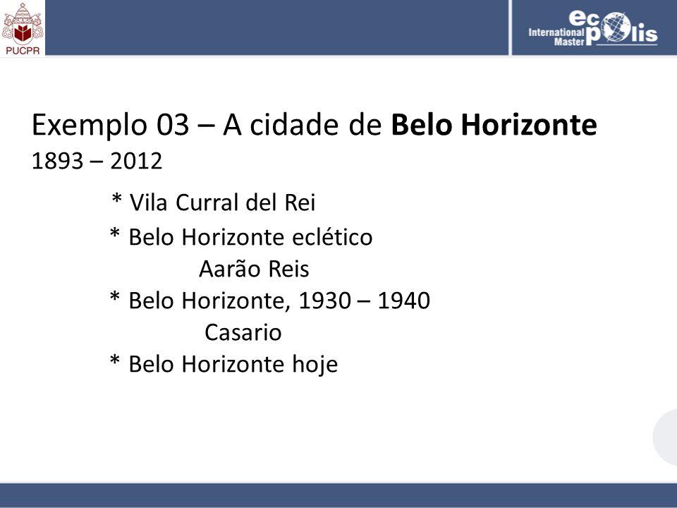 Exemplo 03 – A cidade de Belo Horizonte 1893 – 2012 * Vila Curral del Rei * Belo Horizonte eclético Aarão Reis * Belo Horizonte, 1930 – 1940 Casario *