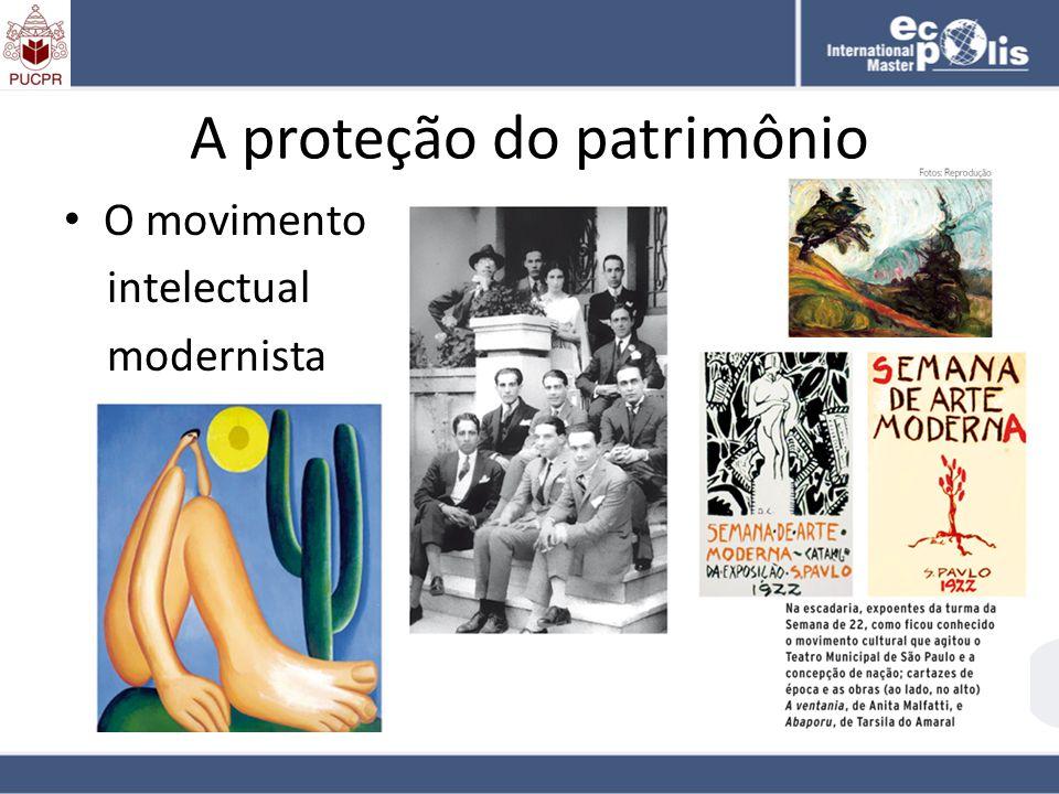 A proteção do patrimônio O movimento intelectual modernista