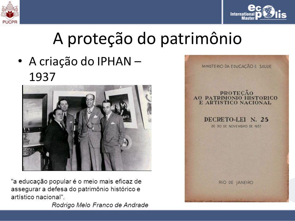 A proteção do patrimônio A criação do IPHAN – 1937
