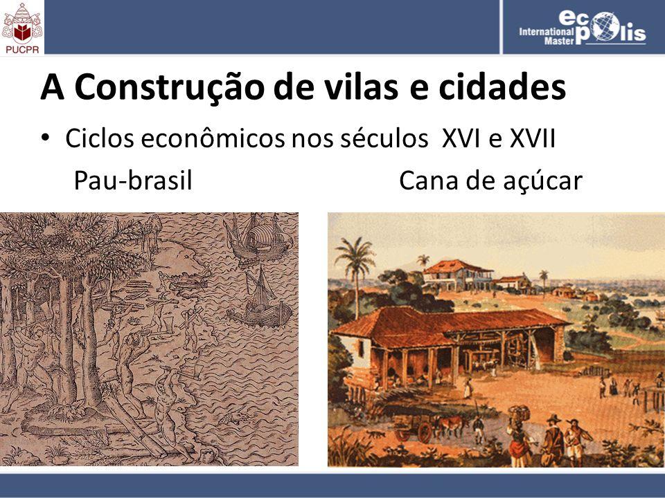 A Construção de vilas e cidades Ciclos econômicos nos séculos XVI e XVII Pau-brasil Cana de açúcar