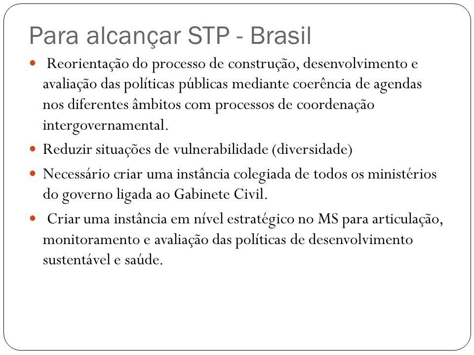 Para alcançar STP - Brasil Reorientação do processo de construção, desenvolvimento e avaliação das políticas públicas mediante coerência de agendas nos diferentes âmbitos com processos de coordenação intergovernamental.