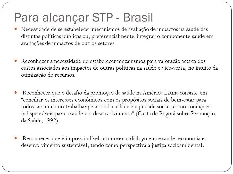 Para alcançar STP - Brasil Necessidade de se estabelecer mecanismos de avaliação de impactos na saúde das distintas políticas públicas ou, preferencia