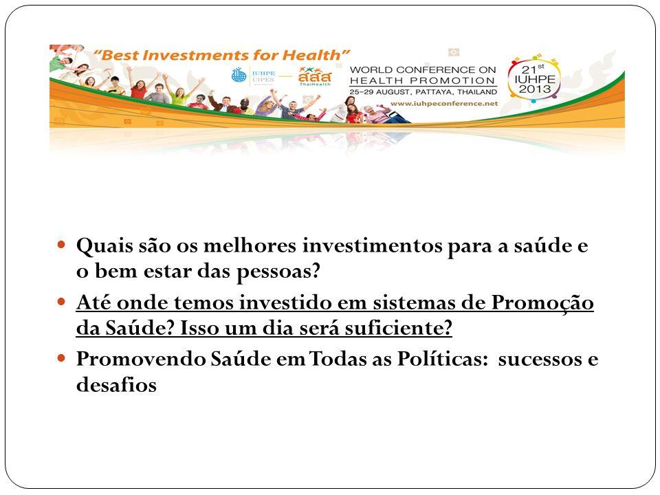 Quais são os melhores investimentos para a saúde e o bem estar das pessoas? Até onde temos investido em sistemas de Promoção da Saúde? Isso um dia ser