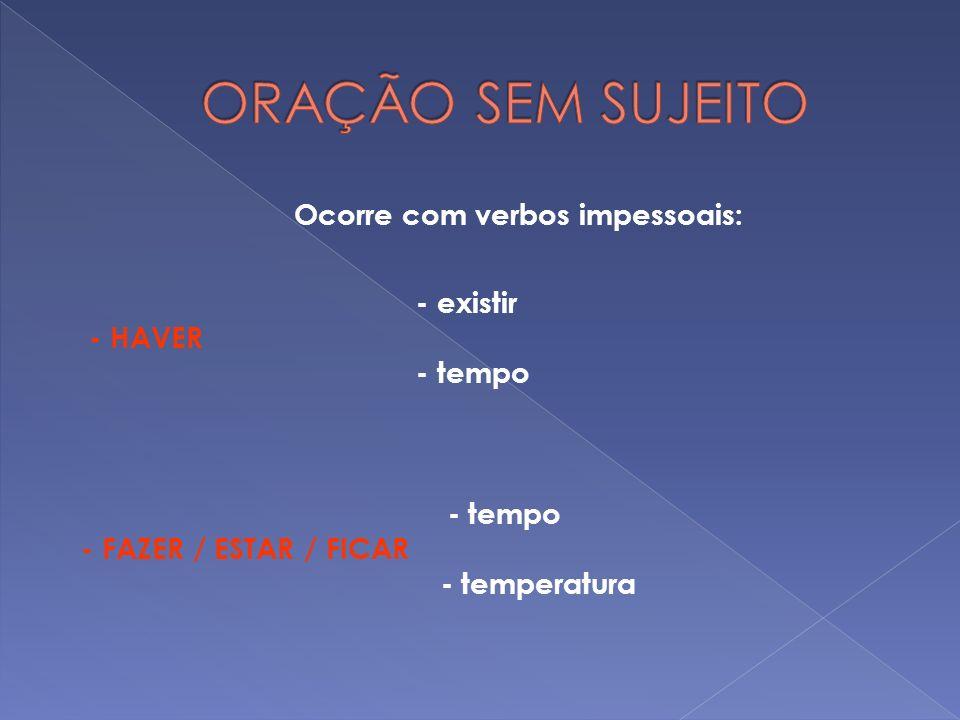 Ocorre com verbos impessoais: - existir - HAVER - tempo - FAZER / ESTAR / FICAR - temperatura