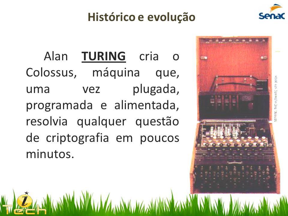 Alan TURING cria o Colossus, máquina que, uma vez plugada, programada e alimentada, resolvia qualquer questão de criptografia em poucos minutos. Histó