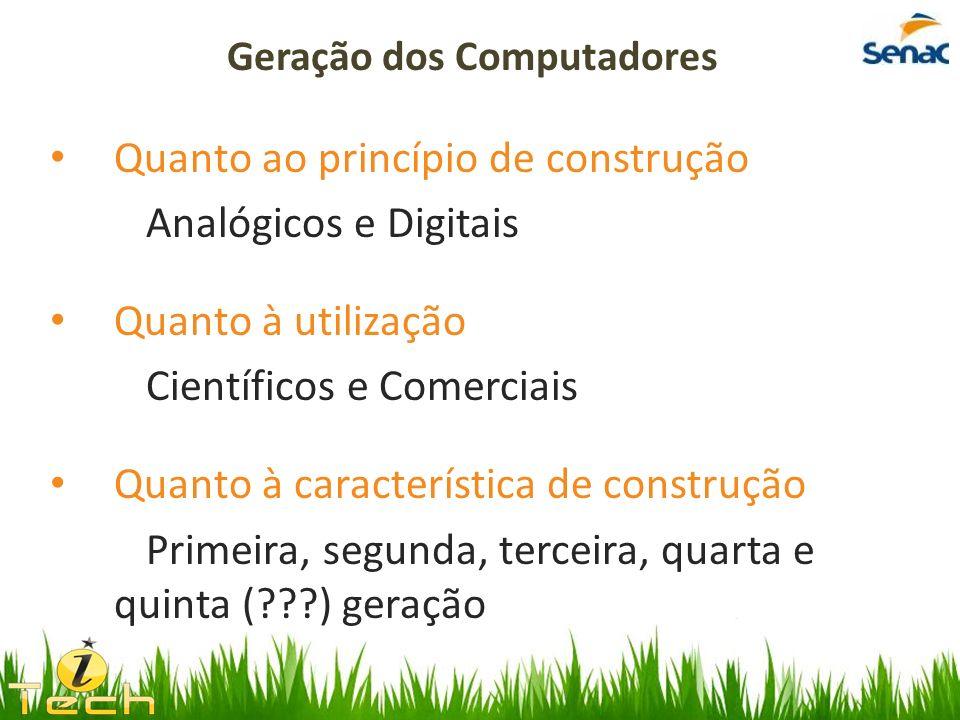 Quanto ao princípio de construção Analógicos e Digitais Quanto à utilização Científicos e Comerciais Quanto à característica de construção Primeira, s