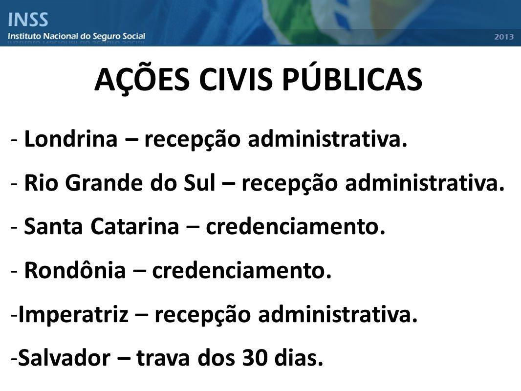 AÇÕES CIVIS PÚBLICAS - Londrina – recepção administrativa. - Rio Grande do Sul – recepção administrativa. - Santa Catarina – credenciamento. - Rondôni