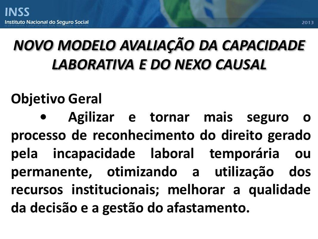 NOVO MODELO AVALIAÇÃO DA CAPACIDADE LABORATIVA E DO NEXO CAUSAL Objetivo Geral Agilizar e tornar mais seguro o processo de reconhecimento do direito g