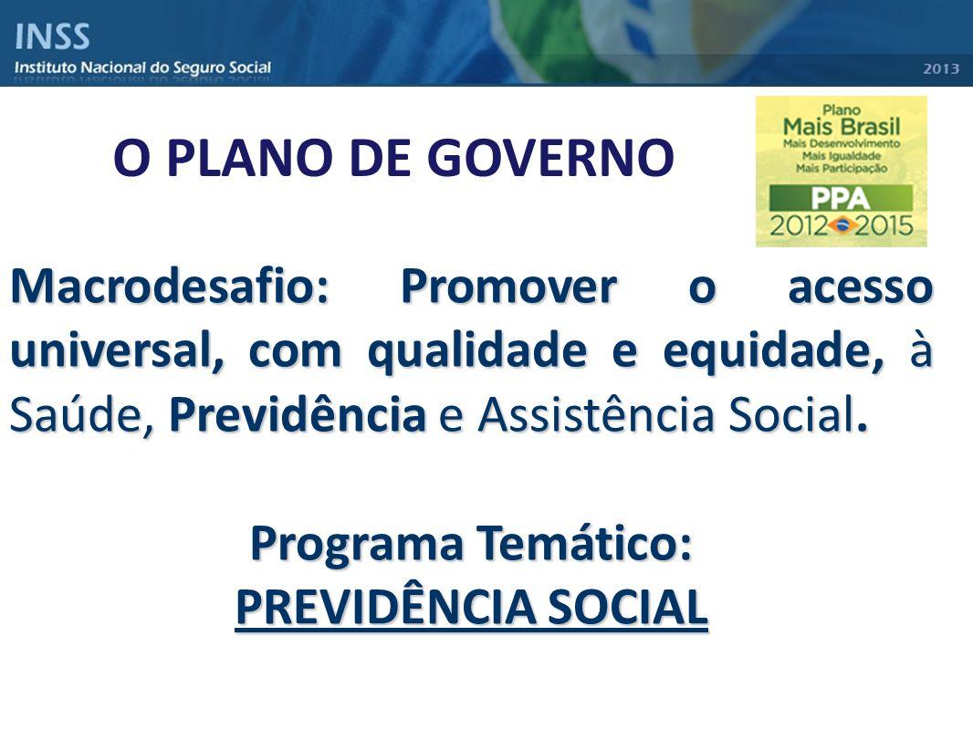 O PLANO DE GOVERNO Macrodesafio: Promover o acesso universal, com qualidade e equidade, à Saúde, Previdência e Assistência Social. Programa Temático: