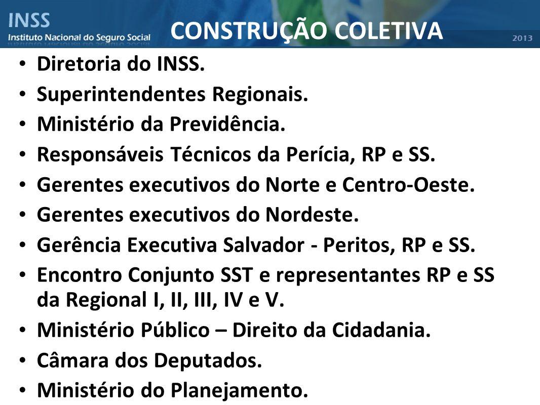 CONSTRUÇÃO COLETIVA Diretoria do INSS. Superintendentes Regionais. Ministério da Previdência. Responsáveis Técnicos da Perícia, RP e SS. Gerentes exec