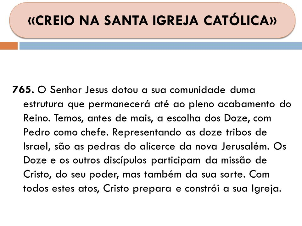 765. O Senhor Jesus dotou a sua comunidade duma estrutura que permanecerá até ao pleno acabamento do Reino. Temos, antes de mais, a escolha dos Doze,